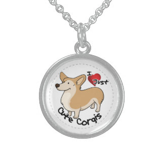 Happy Adorable Funny & Cute Corgi Dog Sterling Silver Necklace