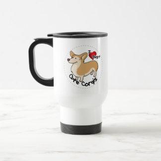 Happy Adorable Funny & Cute Corgi Dog Travel Mug