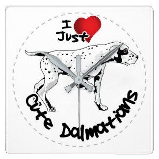 Happy Adorable Funny & Cute Dalmatian Dog Square Wall Clock