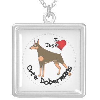 Happy Adorable Funny & Cute Doberman Dog Silver Plated Necklace
