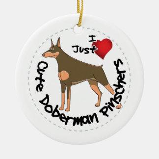 Happy Adorable Funny & Cute Doberman Pinscher Dog Ceramic Ornament