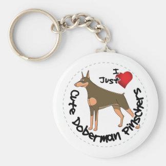 Happy Adorable Funny & Cute Doberman Pinscher Dog Key Ring