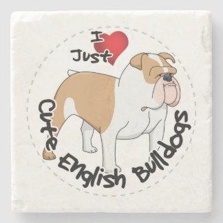 Happy Adorable Funny & Cute English Bulldog Dog Stone Coaster