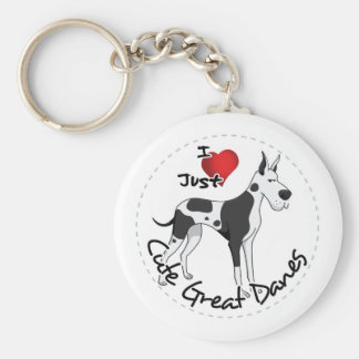 Happy Adorable Funny & Cute Great Dane Dog Basic Round Button Key Ring