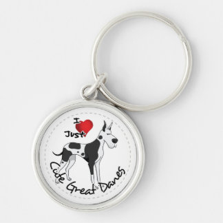 Happy Adorable Funny & Cute Great Dane Dog Silver-Colored Round Key Ring