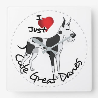 Happy Adorable Funny & Cute Great Dane Dog Square Wall Clock
