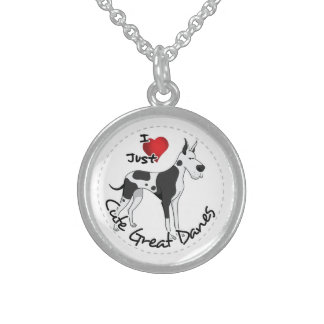 Happy Adorable Funny & Cute Great Dane Dog Sterling Silver Necklace