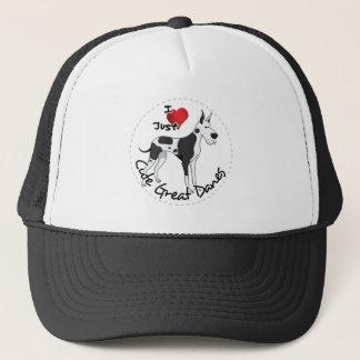 Happy Adorable Funny & Cute Great Dane Dog Trucker Hat