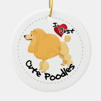 Happy Adorable Funny & Cute Poodle Dog Round Ceramic Decoration