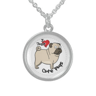 Happy Adorable Funny & Cute Pug Dog Sterling Silver Necklace