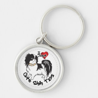 Happy Adorable Funny & Cute Shih Tzu Dog Silver-Colored Round Key Ring