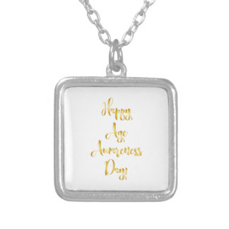Happy age awareness day gold funny birthday silver plated necklace