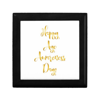 Happy age awareness day gold funny birthday small square gift box