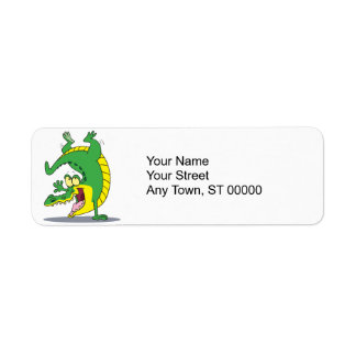 happy alligator crocodile cartoon dancing return address label