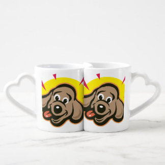 Happy and bright dog face cartoon lovers mugs