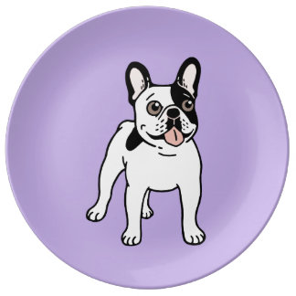 Happy and Fun Single Hooded Pied Frenchie Plate