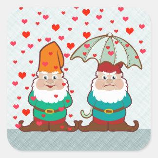 Happy and Grumpy Gnomes Square Sticker