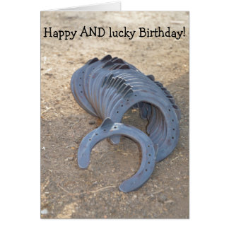 Happy AND lucky Birthday: Card with Horseshoes