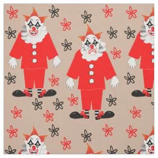 Happy And Sad Cute Mime Artist Circus Clowns Fabric