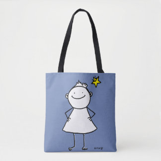 Happy and strong little woman with lucky star tote bag