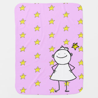 Happy and strong little woman with lucky stars baby blanket