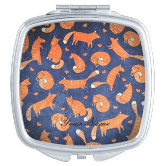 Happy animal fox pattern compact mirror