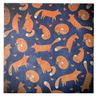 Happy animal fox pattern tile