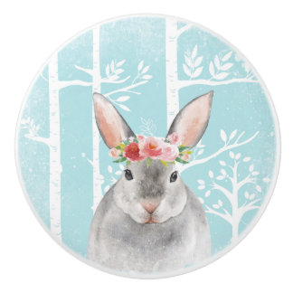 Happy Animal with Flowers in Blue Forest-Bunny Ceramic Knob