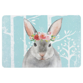 Happy Animal with Flowers in Blue Forest-Bunny Floor Mat
