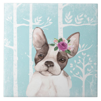Happy Animal with Flowers in Blue Forest-Dog-Pug Ceramic Tile