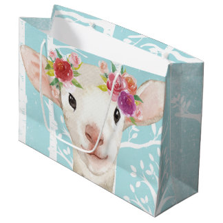 Forest animal gift bags zazzle happy animal with flowers in blue forest sheep large gift bag negle Images