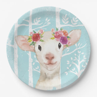 Happy Animal with Flowers in Blue Forest-Sheep Paper Plate