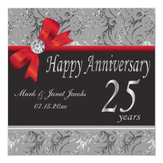"Happy Anniversary 25 Years 5.25"" Square Invitation Card"