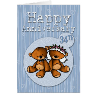 happy anniversary bears - 34 year card