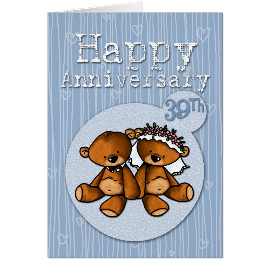 happy anniversary bears - 39 year card