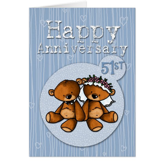 happy anniversary bears - 51 year card