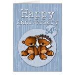 happy anniversary bears - 54 year greeting card