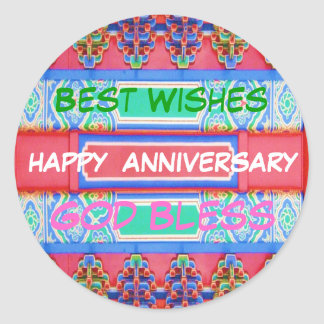 Happy Anniversary - Chinese Lucky Color Pattern Round Sticker