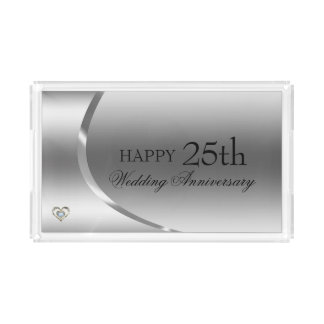 Happy Anniversary- Diamonds Gold And Silver Heart Acrylic Tray