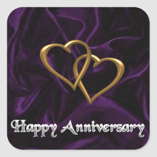 Happy Anniversary - Gold rings on purple Square Sticker