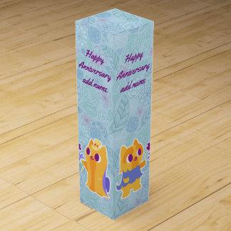 Happy Anniversary Kawaii Dog Puppy Love Yorkies Wine Bottle Boxes