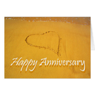 Happy Anniversary, Love heart drawn in the sand. Card