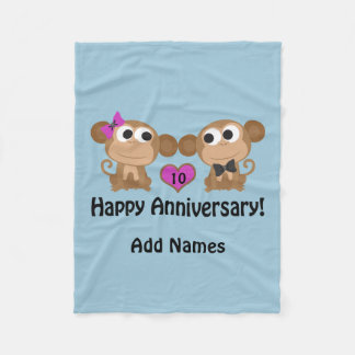 Happy Anniversary Monkeys Fleece Blanket