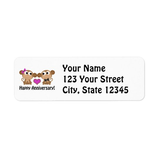 Happy Anniversary Monkeys Return Address Label