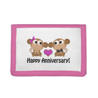 Happy Anniversary Monkeys Tri-fold Wallets