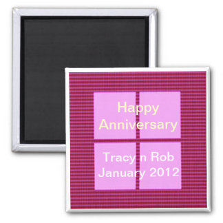 Happy Anniversary -  Pink Square Memory Bank Fridge Magnets