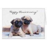 Happy Anniversary Pug puppies greeting card