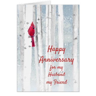 Happy Anniversary Red Cardinal Husband Friend Card