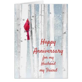 Happy Anniversary Red Cardinal Husband Friend Card