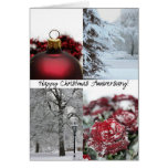 Happy Anniversary Red Winter collage Greeting Card